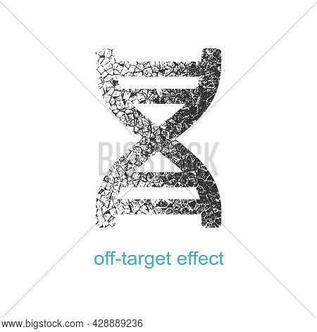 Concept Of Biochemistry With Abstract Dna Symbol In Distorted Style. Off Target Effect