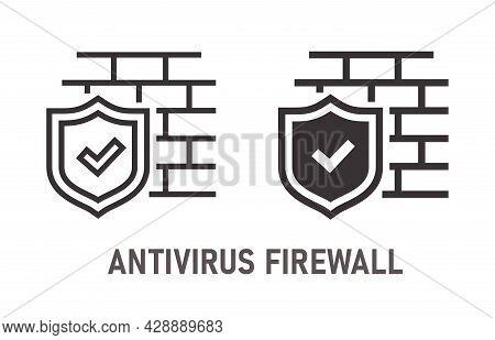 Antivirus Firewall Icon On White Background. Vector Illustration.