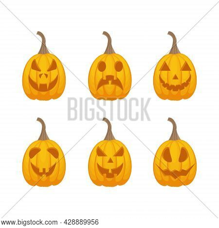 A Bright Festive Set With The Image Of Jack-o-lantern Pumpkins. Pumpkins Are A Symbol Of The Hallowe