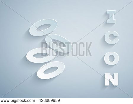 Paper Cut Medical Hemoglobin Erythrocytes Icon Isolated On Grey Background. Paper Art Style. Vector