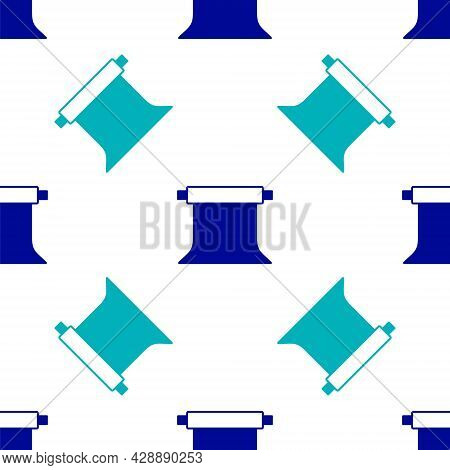 Blue Empty Photo Studio Icon Isolated Seamless Pattern On White Background. Screen Backdrop. Vector