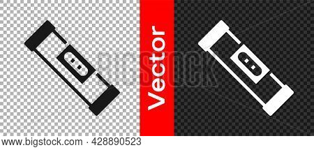 Black Construction Bubble Level Icon Isolated On Transparent Background. Waterpas, Measuring Instrum