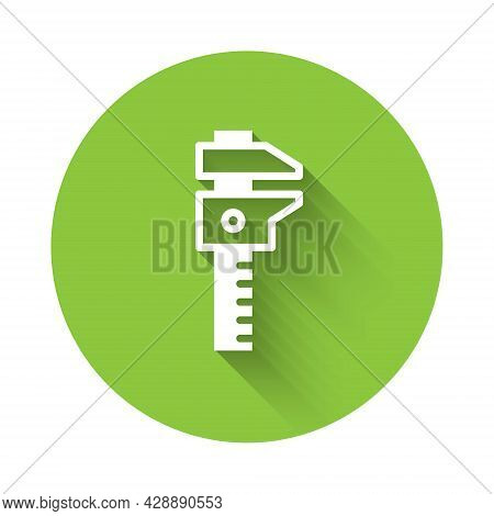 White Calliper Or Caliper And Scale Icon Isolated With Long Shadow. Precision Measuring Tools. Green