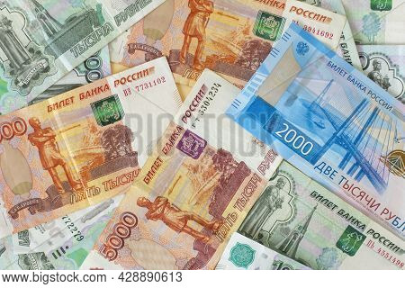 Banknotes In Russian Rubles. The Ruble Is The Currency Of Russia.russian Money In Denominations Of 1