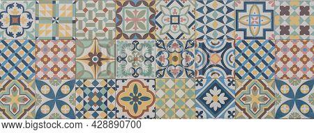 Classic Panorama Mosaic Ceramic Tile Pattern Azulejo Vintage Tiles Panoramic Background