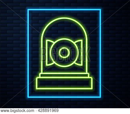 Glowing Neon Line Ringing Alarm Bell Icon Isolated On Brick Wall Background. Alarm Symbol, Service B