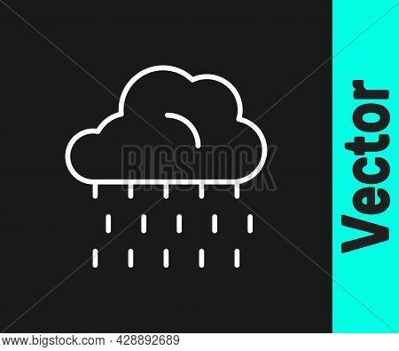 White Line Cloud With Rain Icon Isolated On Black Background. Rain Cloud Precipitation With Rain Dro