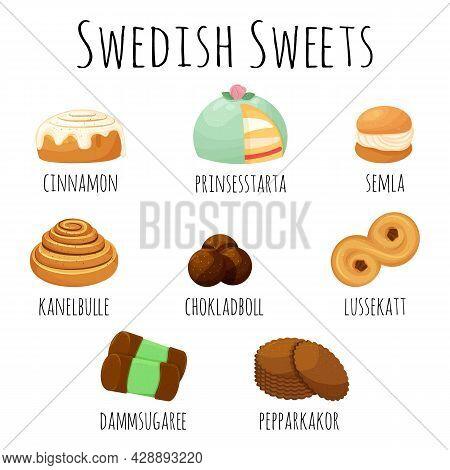 Traditional Swedish Sweets Set. Kanelbulle Roll, Cinnamon Bun, Prinsesstarta, Semla, Chokladboll, Lu