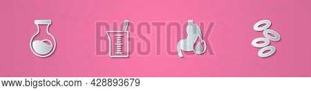 Set Paper Cut Test Tube And Flask, Laboratory Glassware Or Beaker, Stomach Heartburn And Hemoglobin
