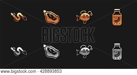 Set Eel Fish, Mussel, Tropical And Sea Cucumber In Jar Icon. Vector