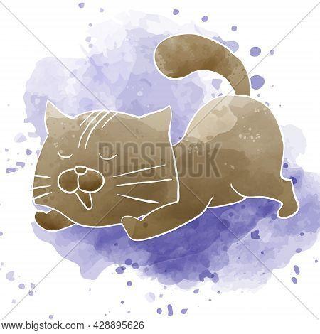 Cute Little Cat Kitten Stretching Artistic Watercolor Art Style Illustration