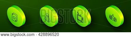 Set Isometric Line Playing Cards, Badminton Shuttlecock, Retro Tv And Gamepad Icon. Vector