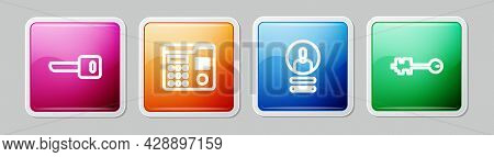 Set Line Key, House Intercom System, Create Account Screen And Old Key. Colorful Square Button. Vect
