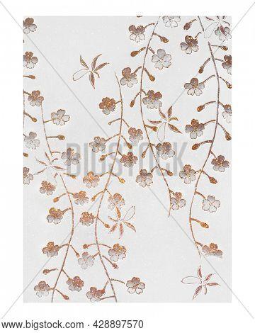 Cherry blossom vintage illustration wall art print and poster design remix from original artwork.