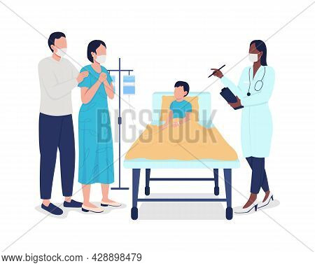 Child Hospitalization Semi Flat Color Vector Characters. Full Body People On White. Medical Procedur