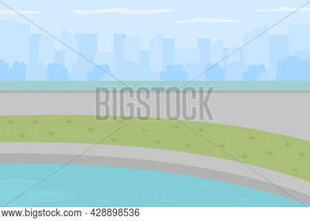 Pond In Urban Park Flat Color Vector Illustration. Public Fishing Land. Place For Enjoying Outdoor A