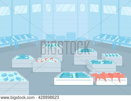 Wholesale Seafood Facility Flat Color Vector Illustration. Fresh And Frozen Seafood Distribution. Co