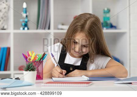 High School. Schoolgirl Writing. School Girl With Notebook. Back To School.