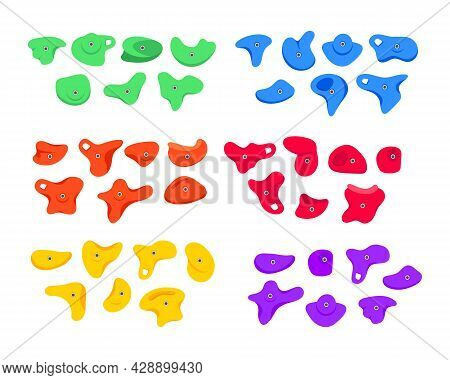 Set Of Climbing Grips Or Holds In The Gym Bouldering Training Flat Style Design Vector Illustration