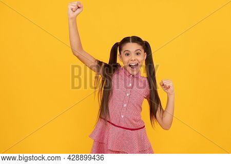Happy Enthusiastic Kid Make Winning Hand Gesture Screaming And Celebrating Yellow Background, Joy