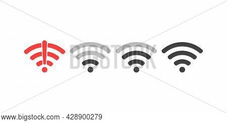 Wireless Wifi Icon Sign Flat Design Vector Illustration Set. On And No Wifi Internet Signal Symbols