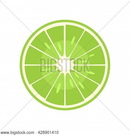 Raw Half Lime Icon. Flat Illustration Of Raw Half Lime Vector Icon Isolated On White Background