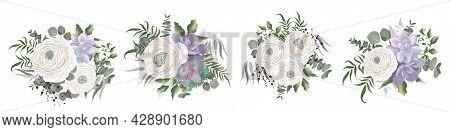 White Ranunculus, Asiatic Buttercup, Succulent Eucalyptus, Berries, Eucalyptus, Green Plants And Lea