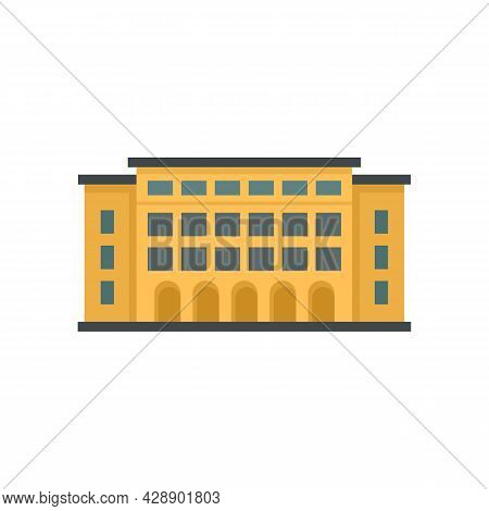 Library Building Icon. Flat Illustration Of Library Building Vector Icon Isolated On White Backgroun
