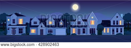 Urban Or Suburban Neighborhood At Night With Real Estate Property, Houses With Lights. Cartoon Lands