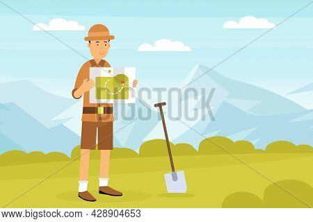 Man Archaeologist With Map And Shovel Searching For Material Remains Vector Illustration