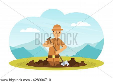 Man Archaeologist With Shovel Searching For Material Remains Vector Illustration