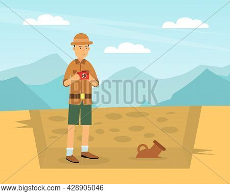Man Archaeologist With Camera Taking Photo Of Past Artifact And Material Remains Vector Illustration