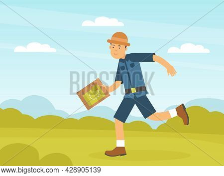 Man Archaeologist With Map Searching For Material Remains Vector Illustration