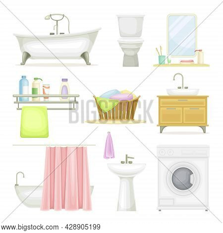 Bathroom Or Washroom With Bathtub, Wash Basin And Mirror With Objects For Personal Hygiene Vector Se