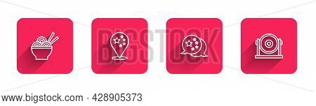 Set Line Asian Noodles In Bowl, China Flag, And Gong With Long Shadow. Red Square Button. Vector