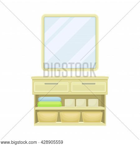 Mirror And Closet With Bathroom Accessory Vector Illustration