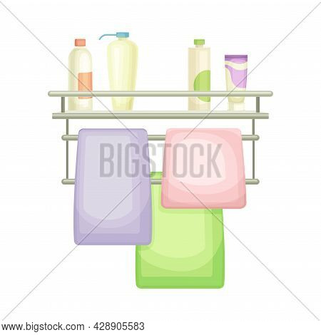 Bathroom Wall Mounted Shelf With Hygienic Accessories And Towel Vector Illustration