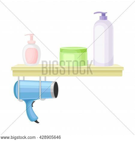Bathroom Wall Mounted Shelf With Hygienic Accessories And Hair Dryer Vector Illustration