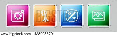 Set Line Photo Camera, Softbox Light, Exposure Compensation And Frame. Colorful Square Button. Vecto