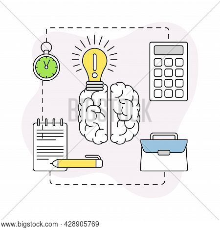 Business And Start-up Development With Brain And Light Bulb Vector Line Composition