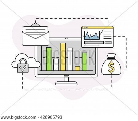 Business And Start-up Development With Computer And Data Server Vector Line Composition