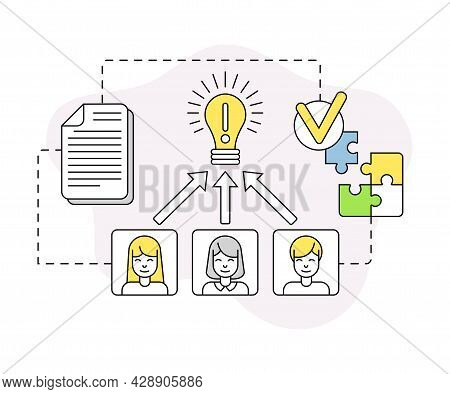 Business And Start-up Development With Light Bulb And Brainstorming Vector Line Composition