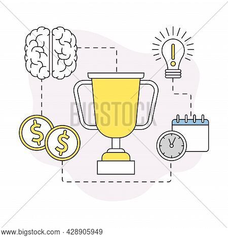 Business And Start-up Development With Light Bulb, Brain And Award Vector Line Composition
