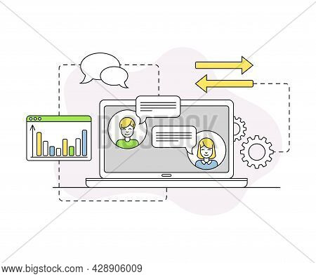Business And Start-up Development With Laptop And Network Communication Vector Line Composition