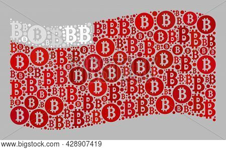 Mosaic Bitcoin Waving Abu Dhabi Flag Constructed Of Bitcoin Icons. Vector Mosaic Waving Abu Dhabi Fl