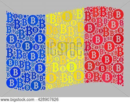 Mosaic Bitcoin Waving Romania Flag Constructed With Bitcoin Icons. Vector Mosaic Waving Romania Flag