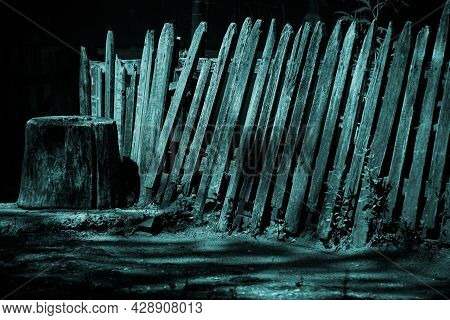 Horror Concept, Abstract Background Scary Dark Night With The Texture Of A Rickety Destroyed Broken
