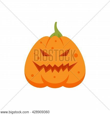 Smile Pumpkin Icon. Flat Illustration Of Smile Pumpkin Vector Icon Isolated On White Background