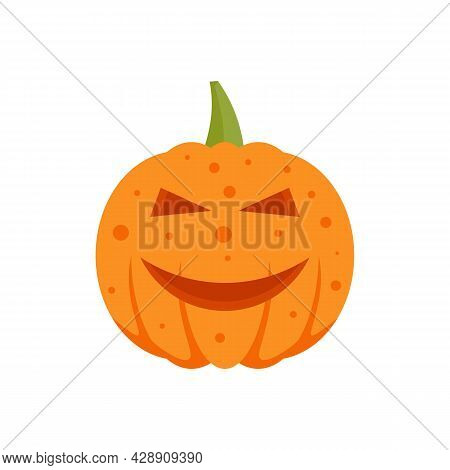 Smiling Pumpkin Icon. Flat Illustration Of Smiling Pumpkin Vector Icon Isolated On White Background