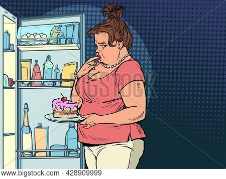 Fat Woman At The Open Refrigerator With Food, Obesity And Excess Weight